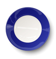 Empty dark blue plate isolated on white vector image