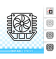 fan simple black line icon vector image vector image