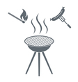 Fire and sausage icon on white background vector image