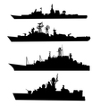 Four silhouettes of a ship vector image