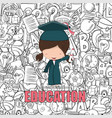 girl graduated pupils back of education vector image vector image