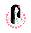 hair salon with women face and scissors silhouette vector image vector image