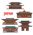 japanese temples shrines japan pagoda houses vector image vector image