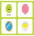 Learning oval form shape Smiling face Cute vector image vector image