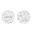 lighting line icons set wall lamp desk lamp vector image vector image