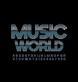 metallic poster music world silver font vector image