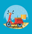 motorcycle transportation of logistic service vector image vector image