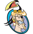 pirate and toucan vector image vector image