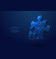 puzzle low poly blue vector image