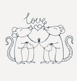 rats in love coloring page vector image