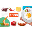 realistic fresh food composition vector image vector image