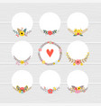 romantic collection with floral round frames cute vector image vector image