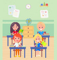 schoolboy and schoolgirl sitting desk at lesson vector image vector image