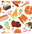 seamless pattern from vaffel desserts and sweets vector image