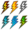 set of colorful lightning bolts vector image vector image