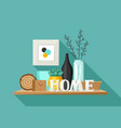 shelf with home decor vase picture and plant vector image