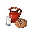 sketch glass of milk ceramic jug loaf bread vector image vector image