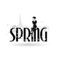 spring fashion girls in sketch-style in paris vector image vector image