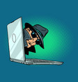 spy laptop computer surveillance and hacking vector image