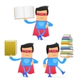 superhero carrying book vector image vector image