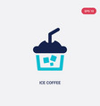 two color ice coffee icon from alcohol concept vector image