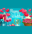 wedding day greeting card hearts symbols love vector image