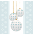 white christmas baubles with blue stars on a blue vector image vector image