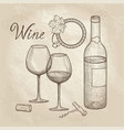 wine set wine glass bottle lettering cafe menu vector image