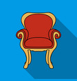 Wing-back chair icon in flat style isolated on