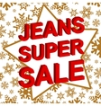 Winter sale poster with JEANS SUPER SALE text vector image vector image