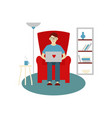 a man works at home young man is sitting vector image