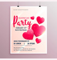 beautiful pink hearts valentines day party flyer vector image vector image