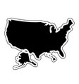 black silhouette of the country usa with the vector image
