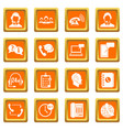 call center symbols icons set orange vector image vector image