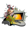 cartoon a computer surfer that is attacked by vector image