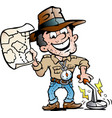 cartoon a happy archaeologist with a metal vector image