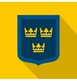 Coat of arms of Sweden icon flat style vector image