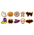 collection colored halloween cookies vector image