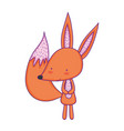 cute and little fox character vector image