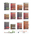 downtown building set with shop or store isolated vector image vector image