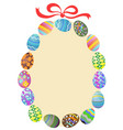 easter eggs round frame vector image vector image