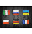 european countries flags made wooden planks vector image