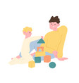 father and son playing with toy building blocks or vector image vector image