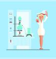 female scientist in lab room vector image vector image