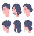 flat design isometric women character heads vector image