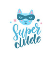funny cat superhero in mask kids hand drawn print vector image vector image