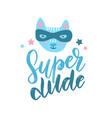 funny cat superhero in mask kids hand drawn print vector image