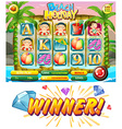 Game template with summer theme vector image vector image