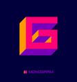 geometric logo g letter cube monogram vector image vector image
