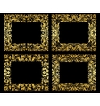 Golden floral frames on black background vector image